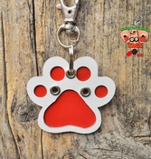 Mixed Metal Paw Print Dog Tag