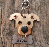 Mixed Metal Pit Bull Dog Tag with Name Plate
