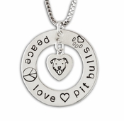 Peace, Love, Pit Bulls Necklace