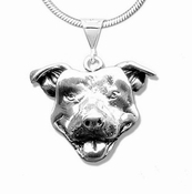 Smiling Pit Bull Face Necklace