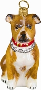 Pit Bull Christmas Ornament - Glass - Fawn