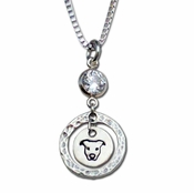 Pit Bull Crystal with Hammered Ring Necklace