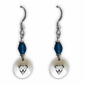 Pit Bull Earrings with Blue Swarovski Crystal