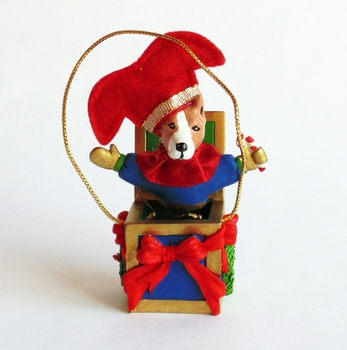 Pit Bull Jack-in-the-Box Ornament (Tan)