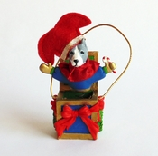 Pit Bull Jack-in-the-Box Ornament (Blue)