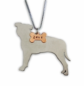 Pit Bull Profile Pendant with Custom Name (Bone)