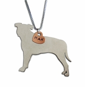 Pit Bull Profile Pendant with Custom Name (Small Heart)
