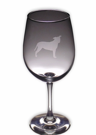Pit Bull Wine Glass (Profile Natural Ears)