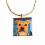 Tan and White Pit Bull Pendant