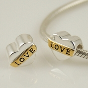 Silver and Gold Love Heart Charm