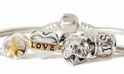 Peace Love and Pit Bulls Charm Bracelet (Smiling)
