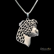 Sterling Silver American Pit Bull Profile Necklace (Natural Ears)