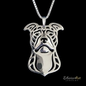 Sterling Silver American Pit Bull Terrier Necklace (Natural Ears)