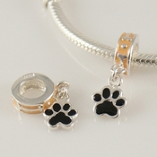Sterling Silver Enamel Paw Print Dangle Charm