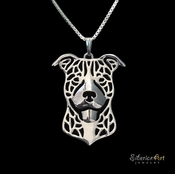 Sterling Silver Happy American Pit Bull Terrier Necklace (Natural Ears)