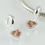 Sterling Silver Orange CZ Heart Charm