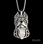 Sterling Silver Pit Bull Necklace (Cropped Ears)