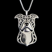 Sterling Silver Pit Bull Necklace (Natural Ears)