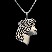 Sterling Silver Pit Bull Profile(Natural Ears)