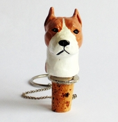 Tan Pit Bull Wine Stopper (Head)