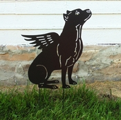 Winged Pit Bull Garden Stake (Cropped Ears)