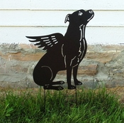 Winged Pit Bull Garden Stake (Natural Ears)