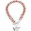 Beaded VT Logo Pendant Necklace