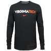 Black Virginia Tech Long Sleeved Wordmark Tee