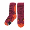 Child's Marooon and Orange Dinosaur Puppet Socks