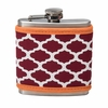 Flask with Maroon and Orange Coozie