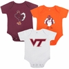 Hokies Virginia Tech Baby Bodysuit 3 Pack