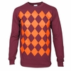 Maroon and Orange Argyle Long Sleeved Shirt