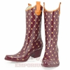 Maroon and Orange Cowgirl Rainboots