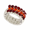 Maroon and Orange Crystal Stretch Ring