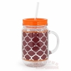 Maroon and Orange Drinking Mug with Straw
