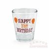 Maroon and Orange Happy 21st Birthday Shot Glass