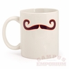 Maroon and Orange Mustache Mug