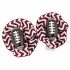 Maroon Chevron Football Hair Clippies Set