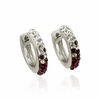 Maroon Crystal Huggie Earrings
