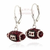 Maroon Crystal Spirit Football Earrings