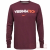 Maroon Virginia Tech Long Sleeved Wordmark Tee by Nike