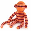 Multi Striped Maroon and Orange Sock Monkey