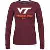 Nike Womens Virginia Tech Long Sleeve Logo Tee