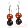 Orange and Maroon Bead Earrings