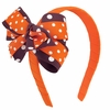 Orange and Maroon Dot Double Bow Headband