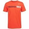 Orange Virginia Tech Wordmark Athletic Cotton Tee by Nike