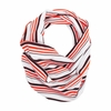 Striped Maroon and Orange Infinity Scarf