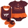 Virginia Tech Baby Sparkle Dress, Bib, and Booties Set