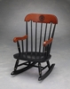 Virginia Tech Childs Rocking Chair with Cherry & Black Lacquered Finish
