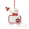 Virginia Tech Claydough Snowman with Sign Ornament